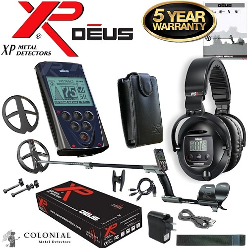 "XP Deus Metal Detector w/  9"" X35 Search Coil, Remote and WS5 Headphones"