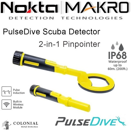 2 in 1 PulseDive Scuba Detector & Pinpointer - Yellow